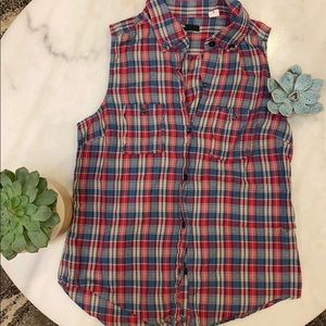 Urban Outfitters Plaid Button Down Tank Top
